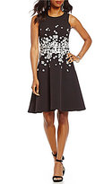 Maggy London Floral Applique Embroidered Crew Neck Sleeveless Fit-and-Flare Dress