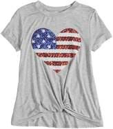 Miss Chievous Girls 7-16 Sequined Stars & Stripes Twist Front Tee