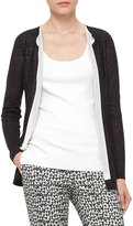 Akris Knit Open-Front Cardigan, Black/White
