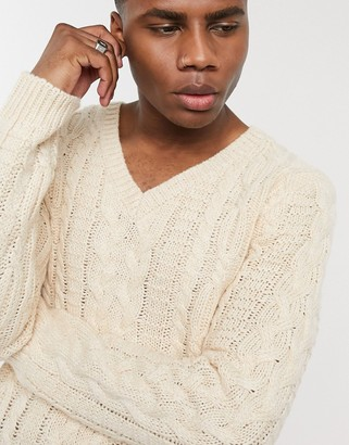 ASOS DESIGN heavyweight cable knit v-neck jumper in cream