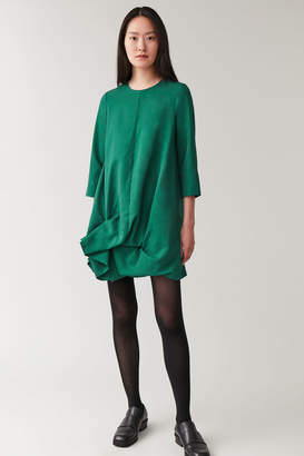 Cos LONG-SLEEVED GATHERED-HEM DRESS