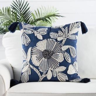 "Nikki Chu Omni Cotton Floral 20"" Throw Pillow Cover Color: Blue"