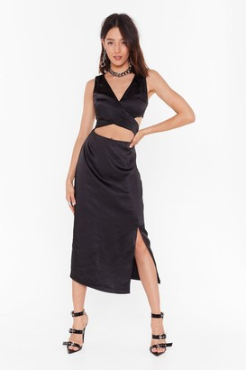 Nasty Gal Womens Cut-Out to Party Satin Midi Dress - Black - 8