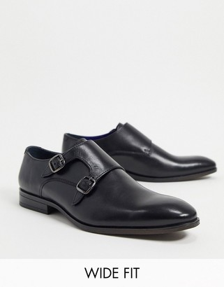 Silver Street wide fit leather monk shoes in black