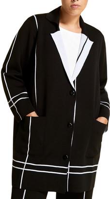 Marina Rinaldi Plus Size Micron Optical Stripe Wool Jacquard Cardigan