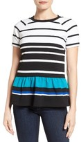 MICHAEL Michael Kors Women's Stripe Ottoman Knit Peplum Top