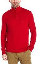 Nautica Men's Standard Long Sleeve Solid Quarter Zip Knit Sweater