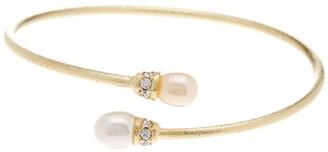 Rivka Friedman 10x8mm Freshwater Pearl & Simulated Diamond Accent Satin Bangle