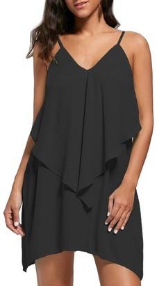 KaloryWee Women Dresses Chiffon V-Neck Spaghetti Strappy Double Layered Ruffles Bodycon Mini Tank Dress Black