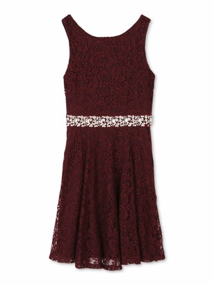 Speechless Womens Burgundy Lace Patterned Sleeveless Jewel Neck Short Fit + Flare Dress Juniors UK Size:20