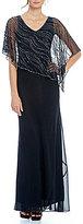 J Kara Beaded Overlay Asymmetrical Hem Gown