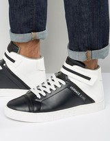 Versace Jeans High-top Trainers In Black & White