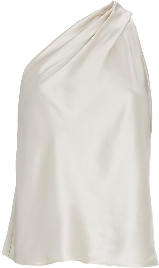 Mason by Michelle Mason One-Shoulder Silk Tank Top