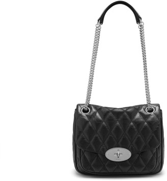 Mulberry Small Darley Shoulder Bag Black Quilted Shiny Buffalo