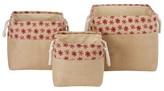 Whitmor Nesting Burlap Decorative Bins - Set of 3 - Red Snowflake