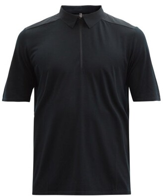 Veilance Frame Zipped Merino Wool-blend Jersey Polo Shirt - Black