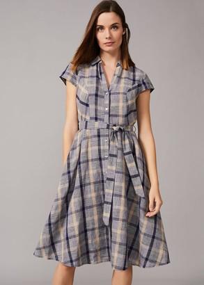 Phase Eight Willa Check Linen Dress