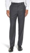 JB Britches Men's Flat Front Chalk Stripe Wool Trousers