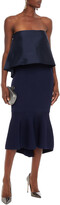 Thumbnail for your product : Sachin + Babi Strapless Layered Duchesse-satin And Ribbed-knit Midi Dress