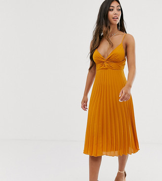 Asos DESIGN Petite twist front cami midi dress with pleat skirt-Yellow