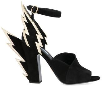 Prada Thunderbolt Applique Ankle Strap Block Heel Sandals
