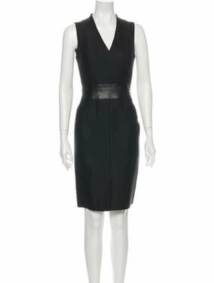 Akris V-Neck Knee-Length Dress Black