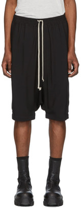 Rick Owens Black Crepe Ricks Pods Shorts
