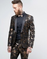 Asos Super Skinny Tuxedo Suit Jacket In Bronze Camo Print