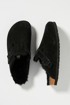 Birkenstock Shearling-Lined Boston Clogs By in Black Size 42