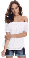 New York & Co. Lace-Overlay Off-The-Shoulder Blouse