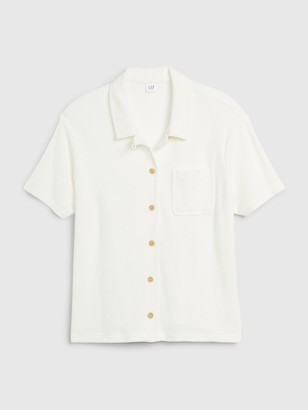 Gap Button-Front Short Sleeve Shirt in Towel Terry