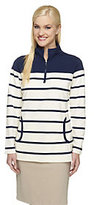Denim & Co. Active Striped French Terry Half Zip Sweatshirt
