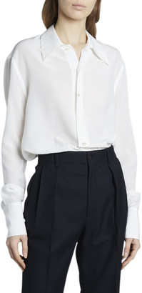 Saint Laurent Pointed Collar Long-Sleeve Button-Down Silk Blouse