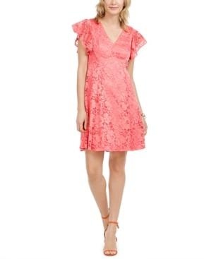 Jessica Howard Flutter-Sleeve Lace Dress