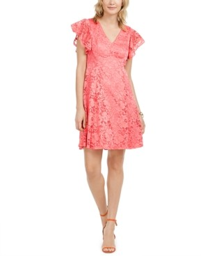 Jessica Howard Petite Flutter-Sleeve Lace Dress
