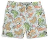 Pilyq Toddler's, Little Boy's & Boy's Map Graphic Swim Trunks