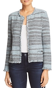 Nic+Zoe Striped Tweed Open Jacket