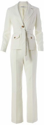Le Suit LeSuit Women's 2 Button Notch Collar Cross DYE Linen Textured Pant Suit with Belt