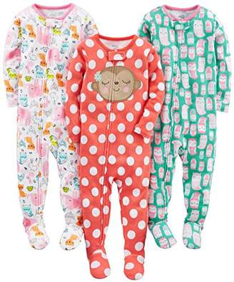 Carter's Simple Joys by Baby Girls 3-Pack Snug Fit Footed Cotton Pajamas