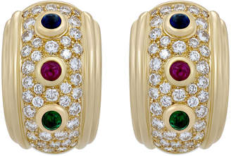 Christian Dior Estate 18k Multi-Stone Huggie Hoop Earrings
