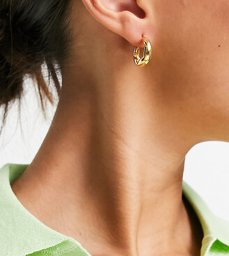 Details about  /14K Solid Yellow Gold Women Designer Thick Hoop Earrings 23mm