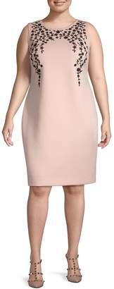 Calvin Klein Collection Plus Floral Sleeveless Sheath Dress