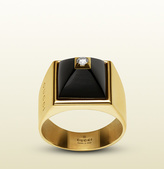 Gucci Ring In 18k Yellow Gold, Diamonds And Black Chalcedony