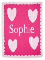 Butterscotch Blankees Luxury Heart Scalloped Edge Knit Blanket in Pink