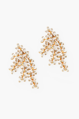 Jennifer Behr Crystal Antique Gold Vinessa Earrings