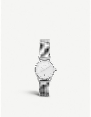 Gucci YA126583 G-Timeless mother-of-pearl stainless steel bracelet strap quartz watch