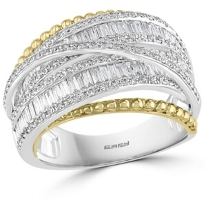 Effy Diamond Crossover Statement Ring (1-1/6 ct. t.w.) in 14k Gold & White Gold