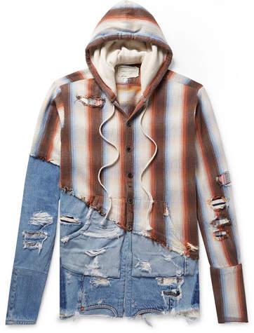 Greg Lauren Panelled Distressed Denim And Striped Cotton-Twill Hoodie