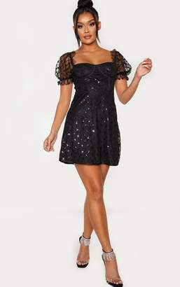 PrettyLittleThing Rose Gold Sequin Detail Puff Sleeve Cup Detail Shift Dress