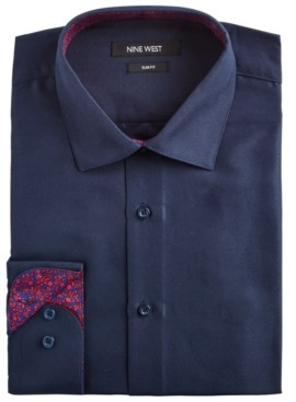 Nine West Men's Slim-Fit Wrinkle-Free Performance Stretch Navy Dress Shirt